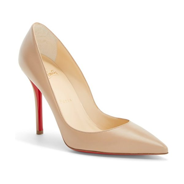 Christian Louboutin 'apostrophy' pointy toe pump in nude leather - Timeless in its design, the Christian Louboutin...