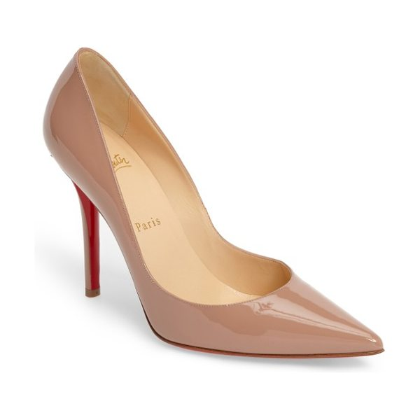 CHRISTIAN LOUBOUTIN apostrophy pointy toe pump in nude patent - Timeless in its design, the Christian Louboutin...