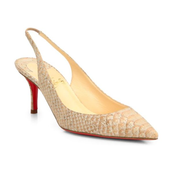 Christian Louboutin Apostrophy snake-print cork slingback pumps in beige - Classic pair of slingback pumps rendered in natural cork...