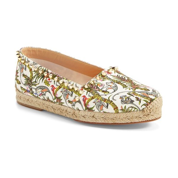 Christian Louboutin ares espadrille flat in ivory/ gold - Spiky cone studs trace a tropical-print canvas...