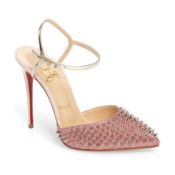 Christian Louboutin 'baila spike' ankle strap pump in metallic pink - Tonal spikes take this pointy-toe pump to the next level...