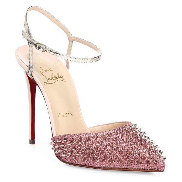 Christian Louboutin baila spike glitter ankle-strap pumps in poudre glitter - Spiked glitter point-toe pump with metallic ankle strap....