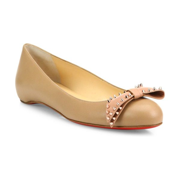 Christian Louboutin Ballalarina studded bow leather flats in nude - Leather round-toe flat crowned with spike-studded bow....