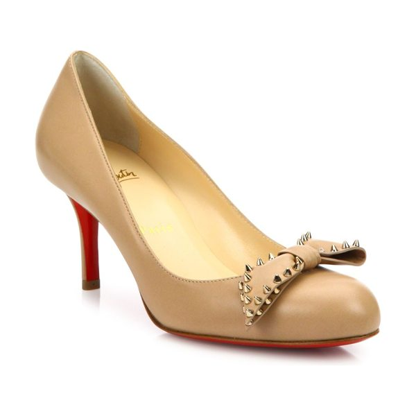 Christian Louboutin Ballalarina studded bow leather pumps in nude - Leather round-toe pump crowned with spike-studded bow....