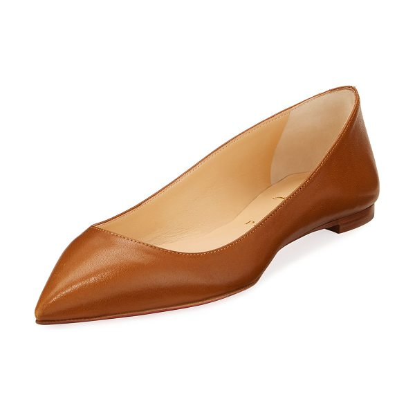 "Christian Louboutin Ballalla Smooth Leather Red Sole Ballerina Flat in brown - Christian Louboutin smooth napa leather flat. 0.2""..."