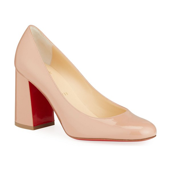 Christian Louboutin Baobab 85 Patent Red Sole Pumps in nude