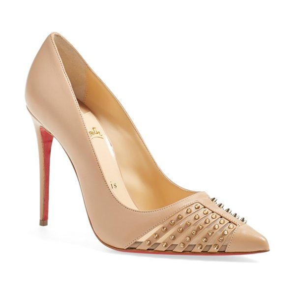 Christian Louboutin baretta spike mesh pump in nude/ light gold leather - Christian Louboutin's signature lacquered sole lends a...