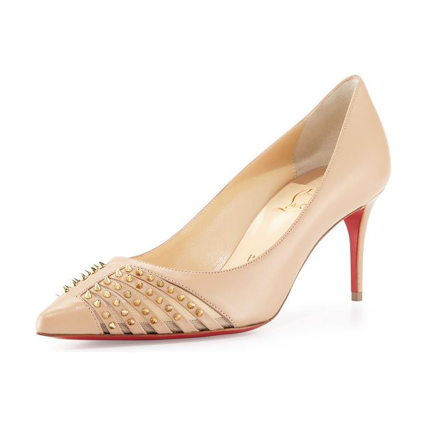 "Christian Louboutin Baretta studded 70mm red sole pump in nude - Christian Louboutin kid leather pump. 2. 8"" covered..."