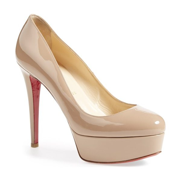 Christian Louboutin bianca patent leather platform pump in nude patent - With a classic, round-toe silhouette, soaring stiletto...