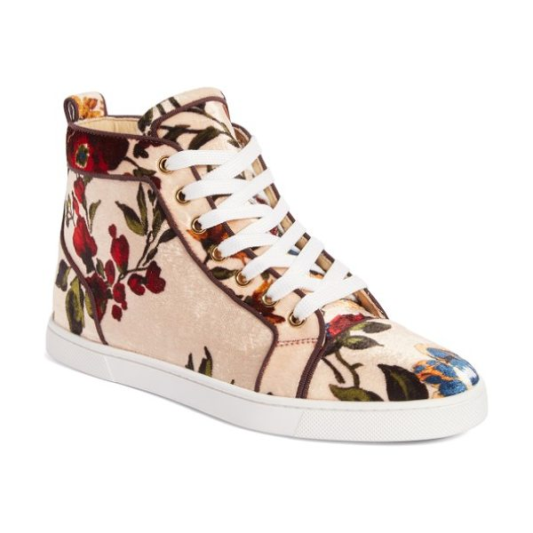 Christian Louboutin bip bip floral sneaker in nude floral velvet - Not your garden-variety sneaker, this gorgeous style...