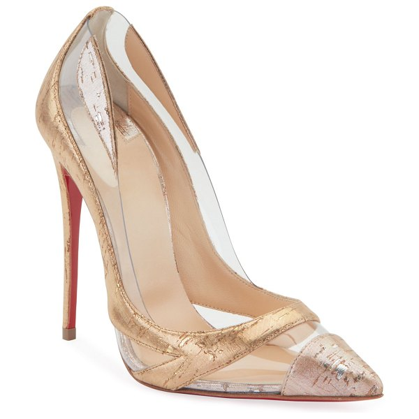 Christian Louboutin Blake is Back Cork/PVC Red Sole Pumps in silver
