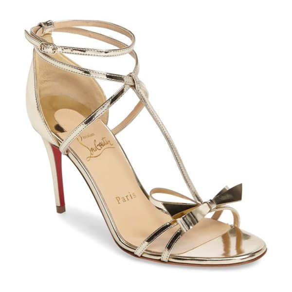 Christian Louboutin blakissima bow sandal in metallic silver - Named for Hollywood actress and Louboutin devotee Blake...