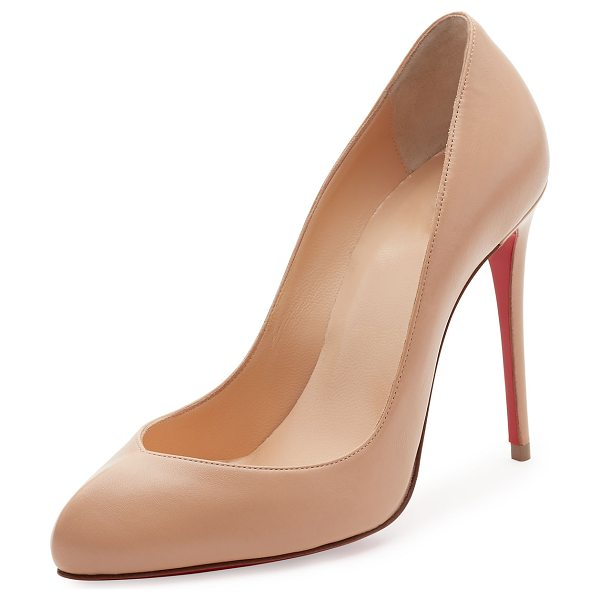 Christian Louboutin Breche Leather 100mm Red Sole Pump in beige - Christian Louboutin shiny napa leather pump. Available...