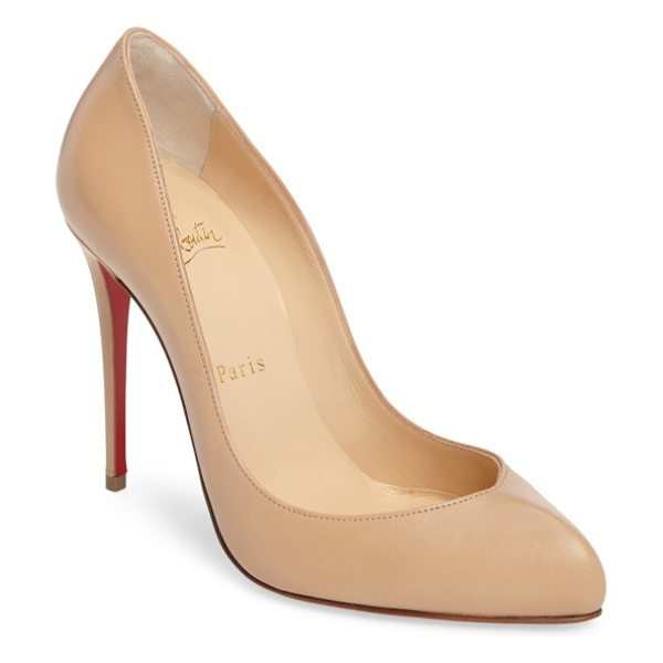 Christian Louboutin breche pump in nude leather - A softened pointy toe and a towering stiletto define an...