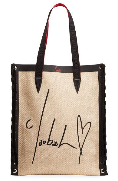 Christian Louboutin Cabalace Straw All You Need Small Tote Bag in beige
