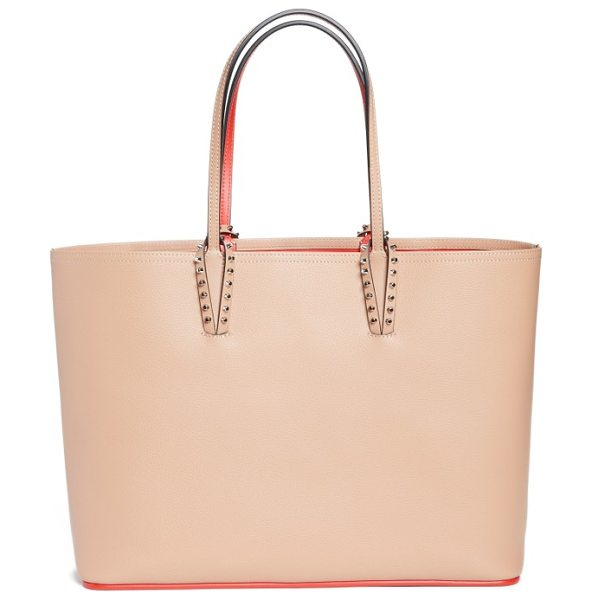 CHRISTIAN LOUBOUTIN cabata calfskin leather tote - Metal-spiked loops anchor the over-the-shoulder handles...