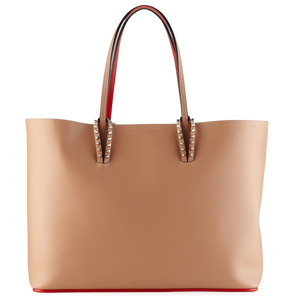 Christian Louboutin Cabata East-West Leather Tote Bag in nude - Christian Louboutin east-west tote bag in grained...