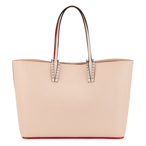 Christian Louboutin cabata leather tote in pink - Spacious leather tote with spike-trimmed handles Double...