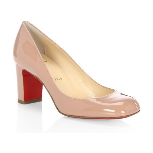 Christian Louboutin cadrilla 70 patent leather block heel pumps in nude - Polished square-toe pump set on walkable block heel....