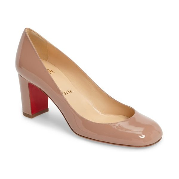 Christian Louboutin cadrilla pump in nude patent - High-shine patent leather adds luscious gleam to a...