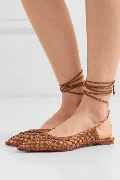 Christian Louboutin cage and curry mesh and woven leather point-toe flats in tan