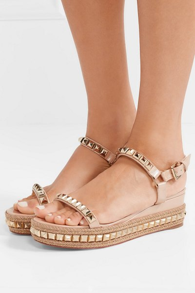 Christian Louboutin cataclou 60 embellished patent-leather wedge espadrille sandals in neutral - Christian Louboutin's 'Cataclou' sandals have a solid...