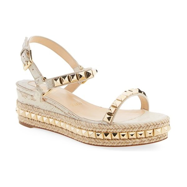Christian Louboutin cataclou espadrille platform sandal in white/ light gold cork - Golden pyramid studs put the spotlight on the Christian...