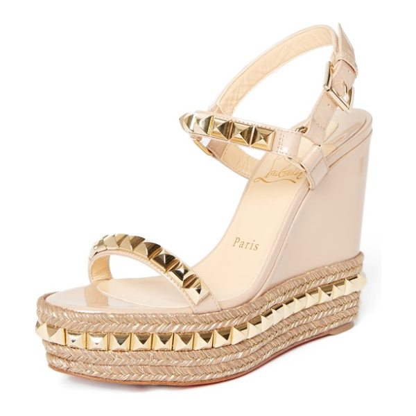 Christian Louboutin cataclou espadrille wedge sandal in nude/ gold - Metallic thread and gleaming pyramid studs add...