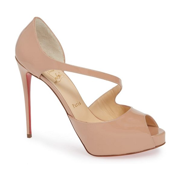 Christian Louboutin catchy peep toe pump in beige - A svelte, asymmertrical strap wraps around the front of...