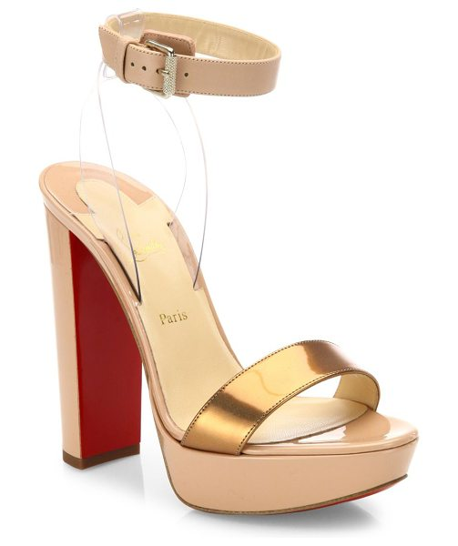 Christian Louboutin cherry patent leather & pvc ankle-strap sandals in nude - Sultry leather platform sandal with metallic toe band....