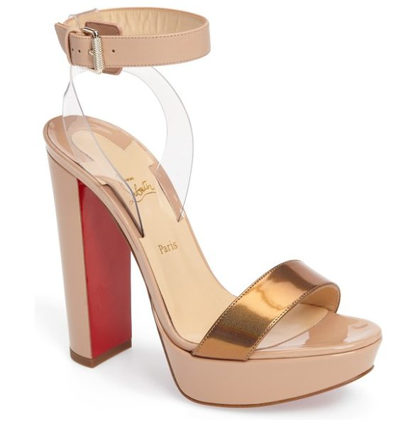 Christian Louboutin cherry sandal in nude patent - A belted ankle strap appears to float above a gorgeous...
