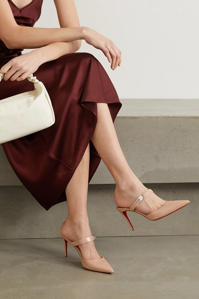 Christian Louboutin choc lock 85 leather mules in neutral