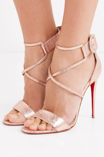 342f4ea26ba Christian Louboutin Choca 100 Metallic Cracked-Leather Sandals