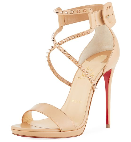 Christian Louboutin Choca Lux High Red Sole Sandal in nude - Christian Louboutin smooth leather sandal with spike...