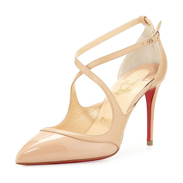 Christian Louboutin Chrissos Crisscross 85mm Red Sole Pump in nude - Christian Louboutin patent and napa leather pump....