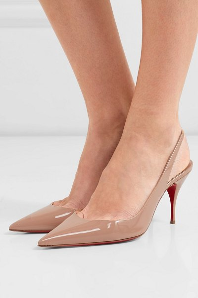 Christian Louboutin clare 80 patent-leather slingback pumps in neutral