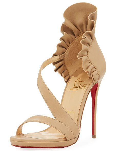 Christian Louboutin Col Ankle Ruffle Red Sole Sandal in nude - Christian Louboutin sandal in napa leather with...