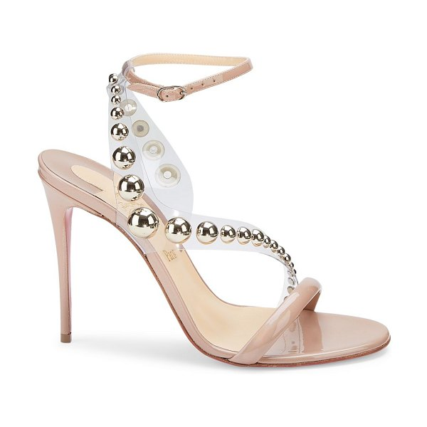 Christian Louboutin corinetta embellished pvc & patent leather sandals in nude