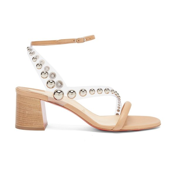 Christian Louboutin corinne 55 pvc-strap leather sandals in beige