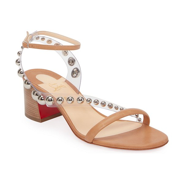 Christian Louboutin Corinne Studded Vinyl Red Sole Sandals in beige