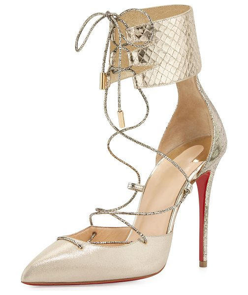 Christian Louboutin Corsankle Lace-Up 100mm Red Sole Pump in gold - Christian Louboutin lam and snake and lizard embossed...