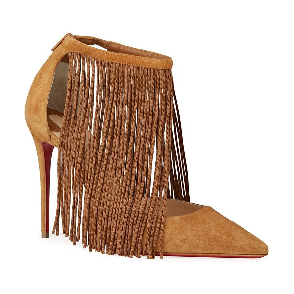 Christian Louboutin Courtain 100 Fringe Red Sole Pumps in brown