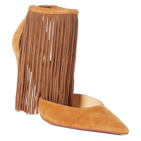Christian Louboutin courtain ankle fringe pump in brown