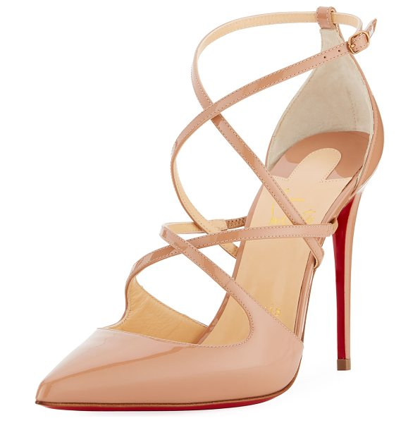 "CHRISTIAN LOUBOUTIN Cross Fliketa Patent Red Sole Pumps in beige - Christian Louboutin patent leather pump. 4"" covered..."