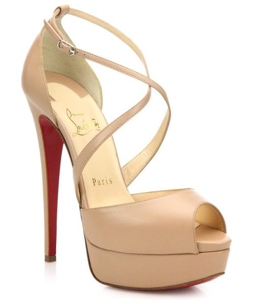 Christian Louboutin Cross me leather platform sandals in nude - Slender crisscrossed straps secure a distinctively...