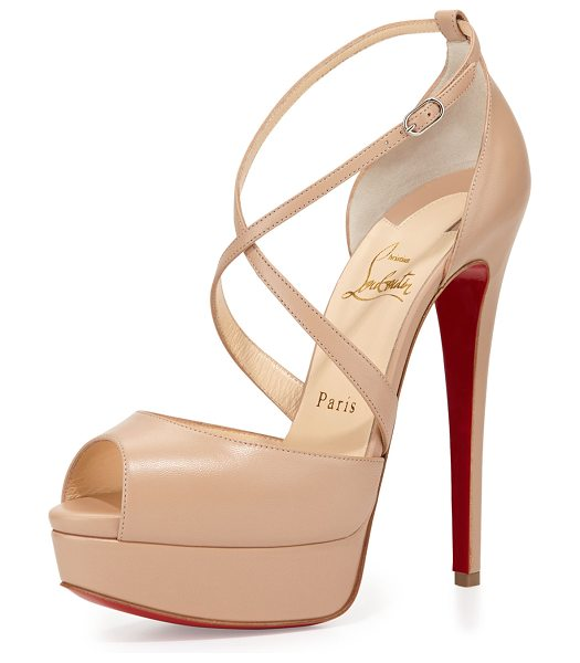 "Christian Louboutin Cross me platform red sole sandal in nude - Christian Louboutin kid leather sandal. 5. 8"" covered..."