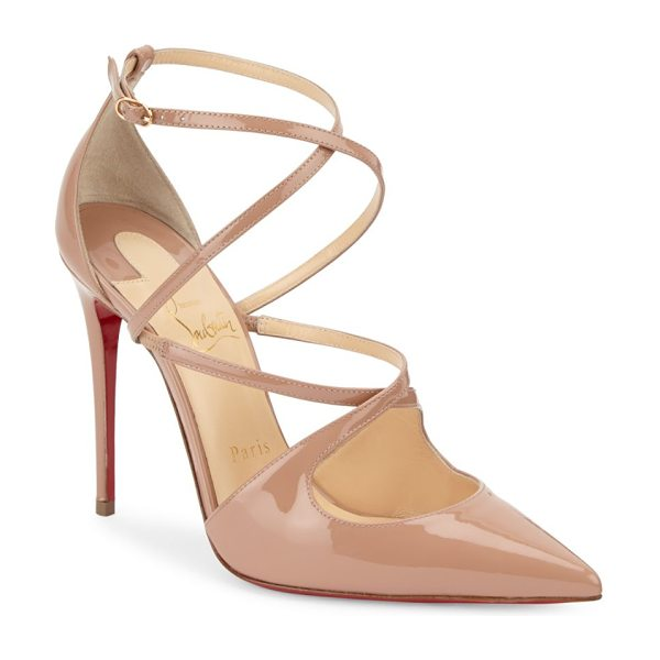 Christian Louboutin crossfliketa 100 leather pumps in nude - Leather pumps featuring crisscross detail on vamp....