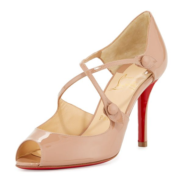 "CHRISTIAN LOUBOUTIN Debriditoe Patent 85mm Red Sole Pump - Christian Louboutin patent leather pump. 3.3"" covered..."