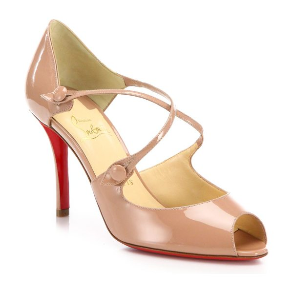 Christian Louboutin Debriditoe patent leather sandals in antiquerose - Straps cross atop patent leather peep-toe...