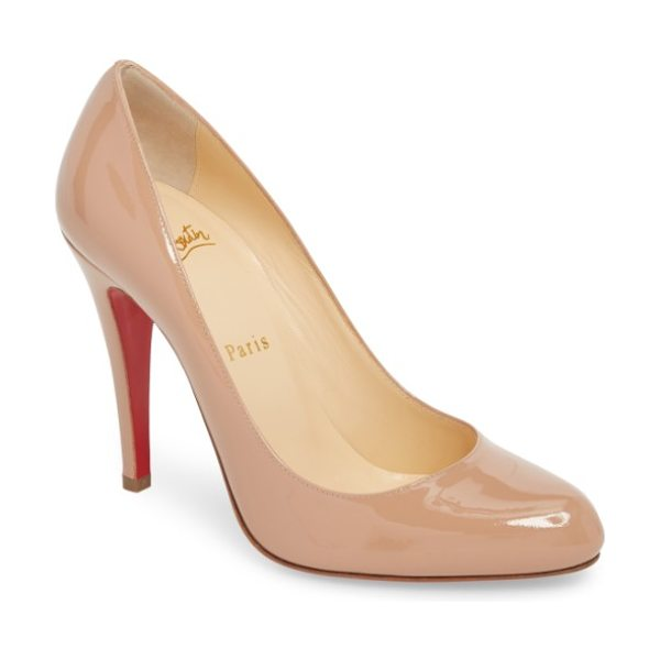 Christian Louboutin decollete 868 pump in beige - Glossy patent leather complements the sleek curves of a...